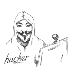 Portrait of hacker with mask vector