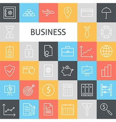 Flat line art modern business icons set vector