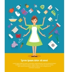 Creative design concepts of housewife activity vector