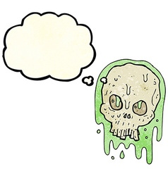 Cartoon slimy skull with thought bubble vector