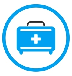 First aid toolkit rounded icon vector