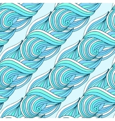 Doodle wavy repeating pattern blue waves vector