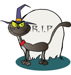 Halloween witch cat by a tombstone vector