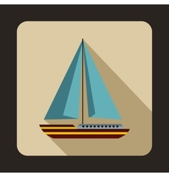 Sea yacht icon flat style vector