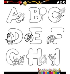 alphabet for coloring book vector image vector image