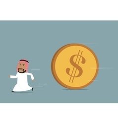 Arabian businessman funning from powerful dollar vector image vector image