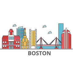 boston city skyline buildings streets vector image