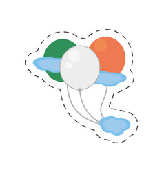 Cartoon balloons flag fly irish st patricks day vector