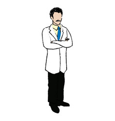 Character doctor physician with arms folded vector