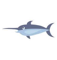 cute swordfish cartoon flat sticker or icon vector image vector image