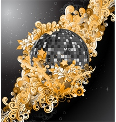 discoball with floral vector image vector image