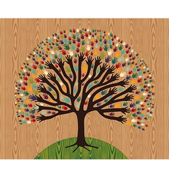 Diversity Tree hands over wooden pattern vector image vector image