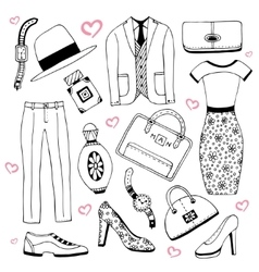 Fashion clothes and accessories set Summer vector image