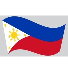 Flag of the philippines waving on gray background vector
