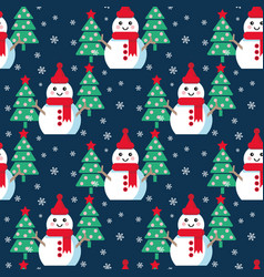 funny cartoon snowman vector image vector image