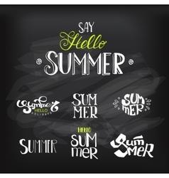 Hello summer lettering set at chalkboard vector