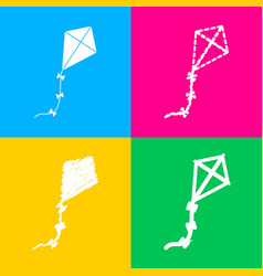 kite sign four styles of icon on four color vector image