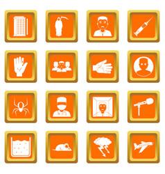 Phobia symbols icons set orange vector