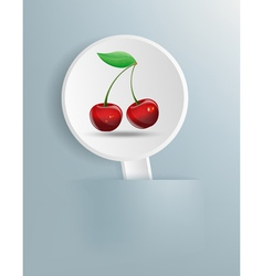 picture of cherries on white plate vector image vector image
