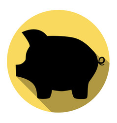Pig money bank sign flat black icon with vector