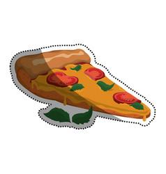 Pizza slice cherry tomatoe vector