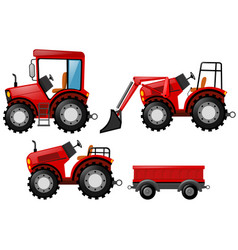 Red tractor and bulldozer set vector