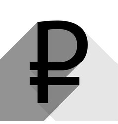 ruble sign black icon with two flat gray vector image vector image