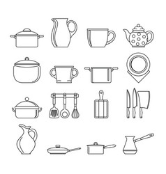 set flat black line dishes items vector image vector image