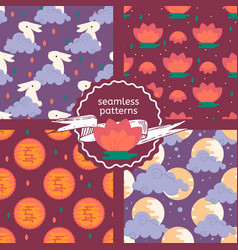 Set of patterns for the lunar festival theme vector