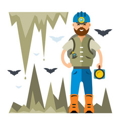 spelunker flat style colorful cartoon vector image