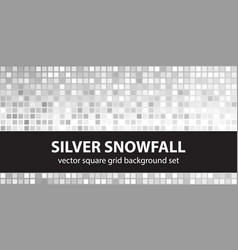 Square pattern set silver snowfall seamless vector