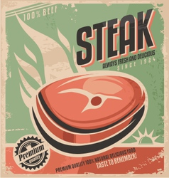 Steak retro poster design vector image vector image