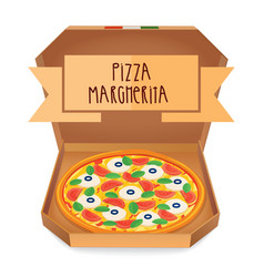 The real pizza margherita italian pizza in box vector