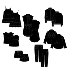Vecor kids clothes black color vector