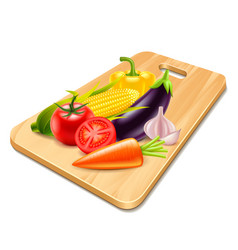 vegetables on wooden board isolated vector image