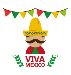 Viva mexico man wearing traditional clothes hat vector