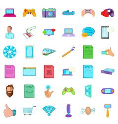 Working app icons set cartoon style vector