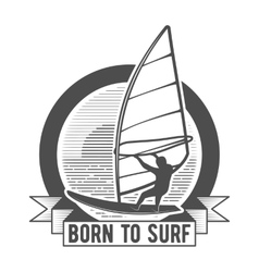 Windsurfing badge logo design elements vector