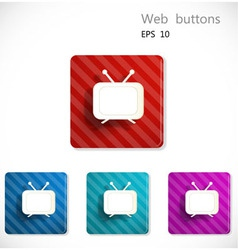 Buttons with icon of television vector