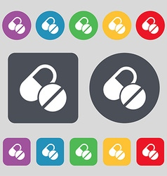 Medical pill icon sign a set of 12 colored buttons vector