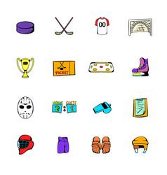 hockey icons set cartoon vector image