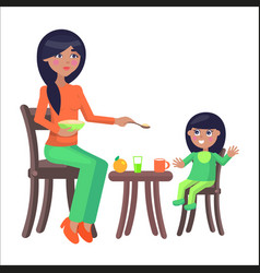Mother feeds her little daughter sitting at table vector