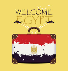 Suitcase with the flag of egypt and planes vector
