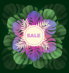 sale text in white circle on background of leaves vector image