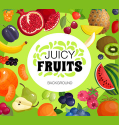 fresh fruits frame background poster vector image