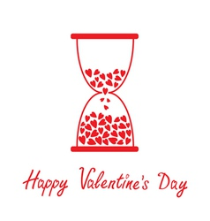 Love hourglass with hearts alentines Day card vector image