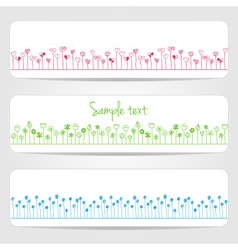 banners with flowers and hearts vector image