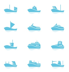 Set of ships icons vector