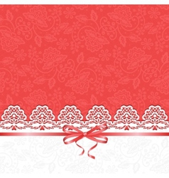 White lace on red background vector