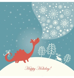 Cute dragon christmas card vector